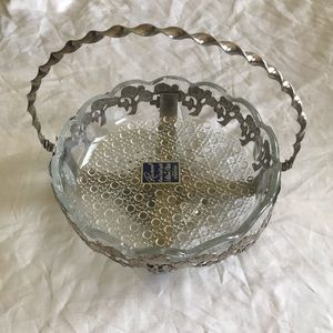 New 1950's crystal and silver plated bowl vintage